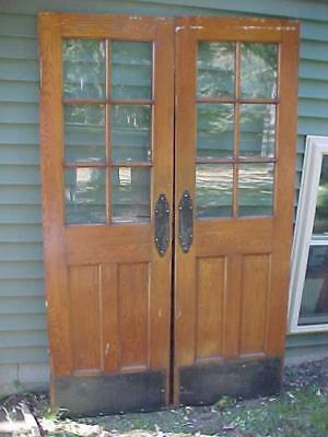 Pair Antique Oak French Doors Arts & Crafts Brass Hardware Great Look