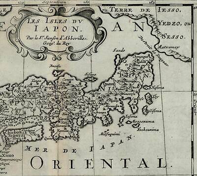 Japan Nippon mythical Jesso Asia Corea Korea Island 1699 Sanson scarce fine map