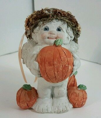Cast Art Dreamsicles Cherub Angel Pumpkin Patch Fall Autumn Figurine 1993