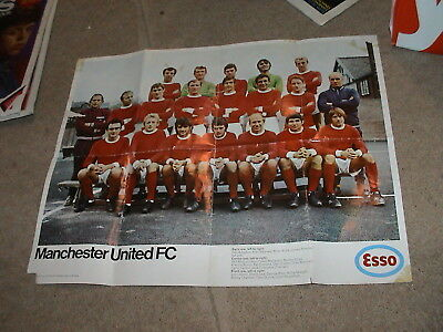 Manchester United Esso 1969 Colour team groups Poster Bobby Charlton