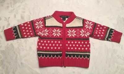 Lands End Holiday Cardigan Sweater Baby Boy Size 3-6 Months Red Knit Snowflakes