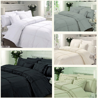 Luxury HAMLET Pintuck Duvet Cover With Pillowcase Quilt Cover Bedding Set Sizes