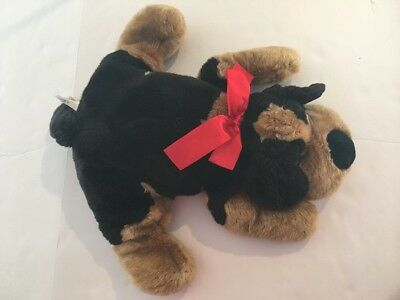 Hound Dog Plush Stuffed Animal 18 Brown Black Red Bow Puppy Floppy