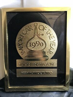 Import Car of the Year 1990 Motortrend Magazine Nissan 300ZX Turbo Dealer Plaque