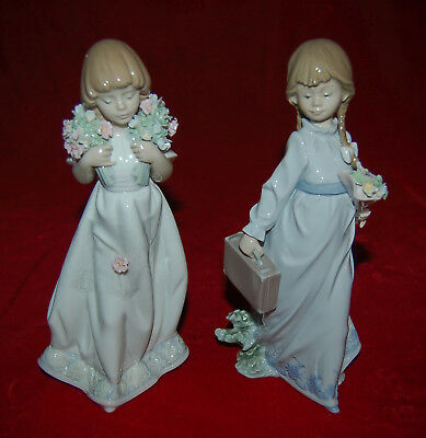LLADRO School Days 7604 and SPRING BOUQUETS 7603 AS IS CONDITION! FOR REPAIR!