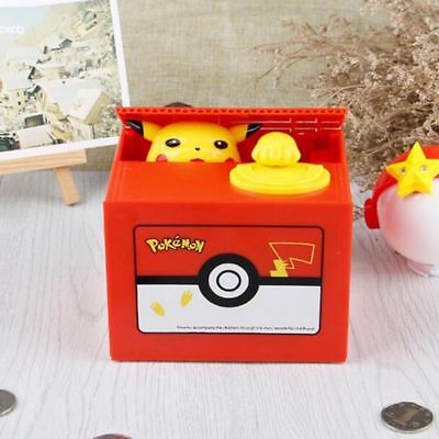 UK Pokemon Pikachu Moving Electronic Coin Money Box Piggy Bank Savings Box Otaku