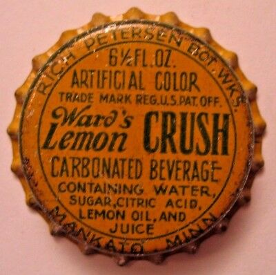 Ward's Lemon Crush, Soda Bottle Cap; Late 1920's; Mankato, Mn; Unused Cork