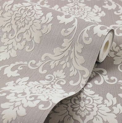 Exclusive Cashmere Flock Velvet Mink Brown Glitter Damask Wallpaper J701