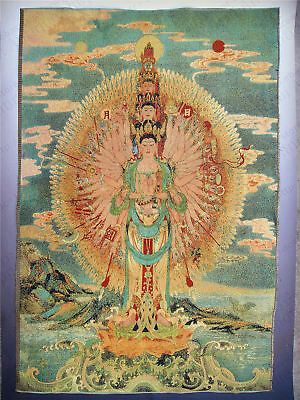 "36"" China Tibetan Silk Inwrought thangka Tangka Mural thousand hand"