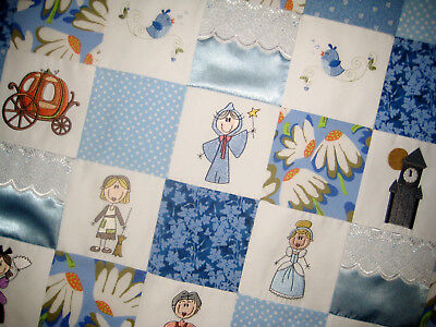 Cinderella embroidered baby quilt, handmade, blue with eyelet, satin and minky