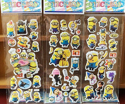 3 sheets Minions Despicable me puffy 3D Stickers Kids cartoon Scrapbooking Craft