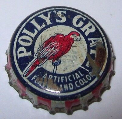 POLLY'S GRAPE SODA POP BOTTLE CAP; INDEPENDENCE, MO; USED CORK, parrot