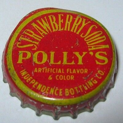 Polly's Strawberry Soda Pop Bottle Cap; Independence, Mo; Used Cork