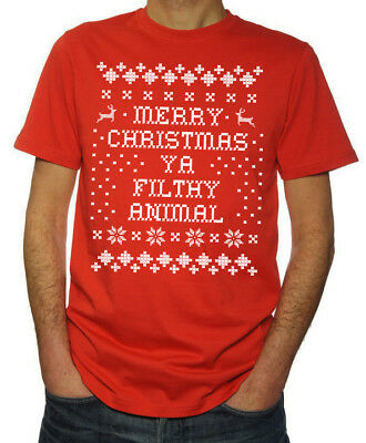 Merry Christmas Ya Filthy Animal Ugly Sweater New Funny Mens 2018 Red T Shirt