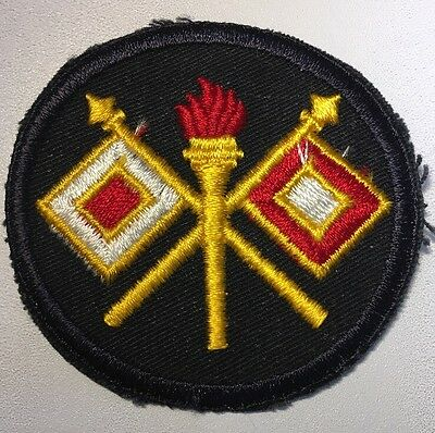 """Original WWII U.S. Army Signal Corps Twill Black Back 3"""" Patch Full Color."""