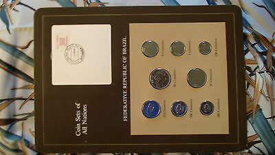 Coin Sets of All Nations Brazil w/card 1984-1985 UNC 500,200,100 Cruzeiros 1985