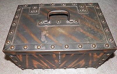 Antique Strongbox Copper Flash Riveted With Original Lock With 2 Keys