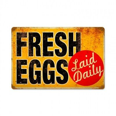 Fresh Eggs Laid Daily Metal Sign Home Farm Country Kitchen Decor Rooster Chicken