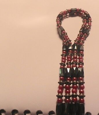 Vintage Rare Beaded Magnetic Flapper Necklace Art  Deco Rev -NZ Antique Estate