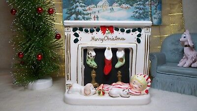 Napco Merry Christmas by child & pets kid warming fireplace ~ So VERY NICE