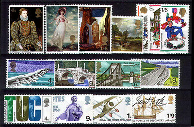 1968 COMPLETE SET OF ALL GB QEII COMMEMORATIVE Stamps