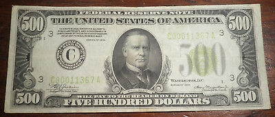 No Reserve Auction 1934 500 Dollar Bill Federal Reserve Note Philadelphia