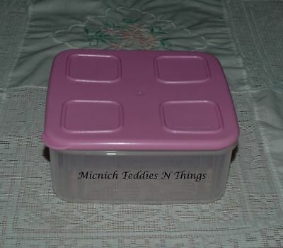 Tupperware Clear Mates Medium Square SIZE #2 Container Baby Pink Lid