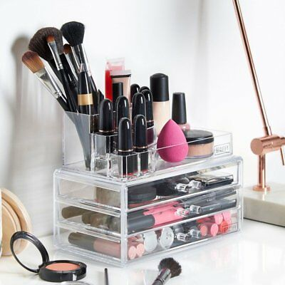Makeup Organiser With 3 Drawers - Cosmetic Beauty Vanity Storage Box