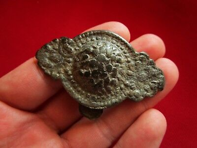 Amazing BYZANTINE bronze,silvered,huge BUCKLE  . circa VI century