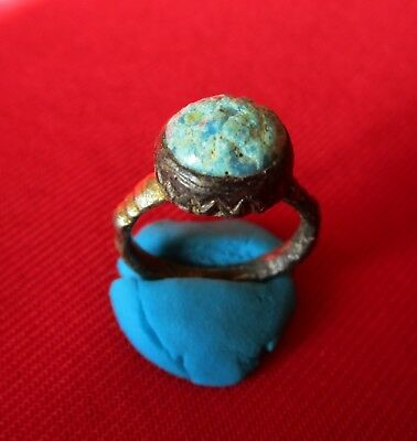 FANTASTIC SILVER BYZANTINE GILDED ring with blue glass stone .circa VII century