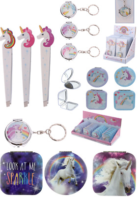 Unicorn Gifts Pocket Mirror Tweezers Keyring Keychain Present Stocking Filler