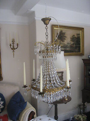 Antique Vintage French  Large Lead Glass Tent &  Bag Chandelier Stunning /4002