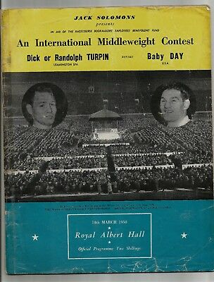 Boxing Programme , Dick Or Randolph Turpin  V  Baby Day , 14/3/1950