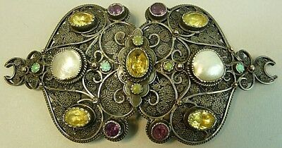 ANTIQUE TURKISH OTTOMAN SILVER JEWELLED BELT BUCKLE 19th CENTURY
