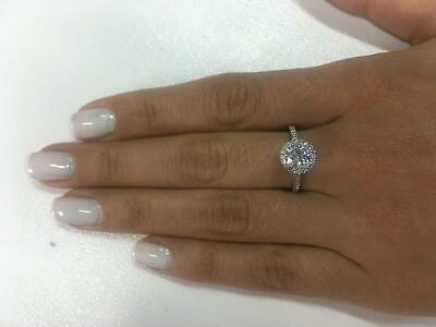 3 Ct Round Cut D/Si1 Halo Diamond Solitaire Engagement Ring 14K White Gold Gift