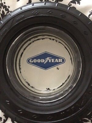 Vintage Goodyear Tire Ashtray Glass Rubber EUC Used