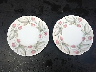 "Susie Cooper - Wild Strawberry - Two 6.5"" Side Plates"