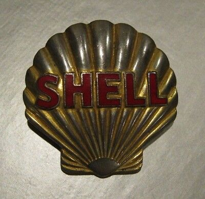 Vintage 1940's Shell Gas Station Hat Badge, Full Service Gas Station Attendant