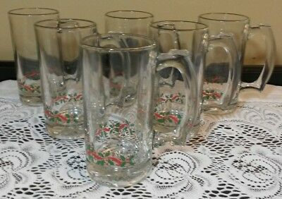 6 Vintage Arby's Holly Berry Christmas 12oz Mugs