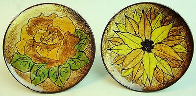 A Pair Of 1960'S Signed Chelsea Studio Art Pottery Floral Pin Trays