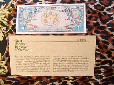 Great Historic Banknotes Bhutan 1 Ngultrum 1981  P5 UNC prefix A/1