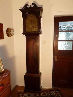 Georgian Mahogany Brass Face Grandfather Clock