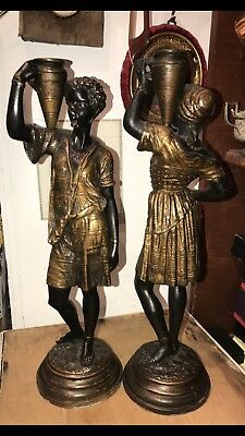 Antique 19th C French Cold Painted Bronze Pr Of Candlestick Louis Hattot 2 Arab