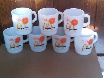"7 McDonald's ""Good Morning"" Stackable Coffee Mugs - Anchor Hocking Fire-King"