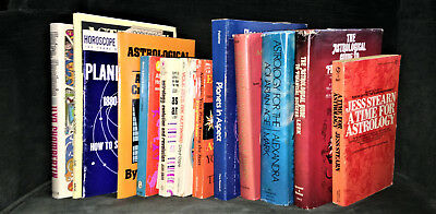 Large Lot of 15 Vintage Astrology Books; 1970's  Sybil Leek, Robert Hand, & More