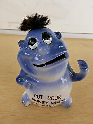 1960s VINTAGE KREISS PSYCHO CERAMICS Put Your Money Where My Mouth Is BANK!
