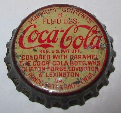 Coca-Cola Soda Bottle Cap; Hinton & Roncevertes, Wv, Lexington, Va; Used Cork