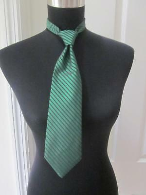 Boys Green w/ Black Diagonal Stripe Formal Neck Tie for Tuxedo Weddings