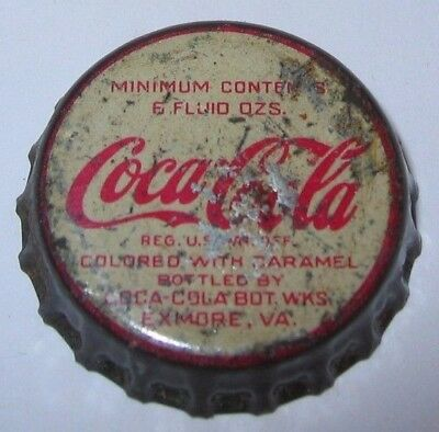 COCA-COLA 1950's SODA POP BOTTLE CAP; EXMORE, VA; USED CORK