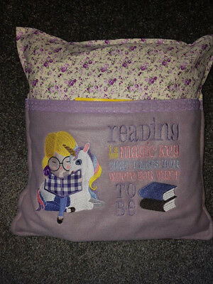 Childrens Unicorn Blonde Reading Cushion with embroidered pocket and book